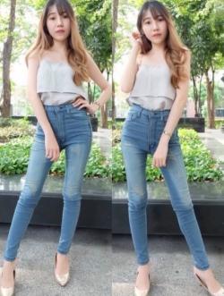 กางเกงยีนส์ผู้หญิง ขาเดฟ สีฟอกสนิม