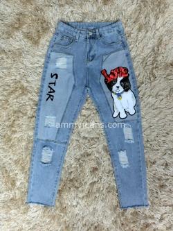 กางเกงยีนส์ผู้หญิง บอยเฟรนด์ เอวสูง ปักรูปสุนัข