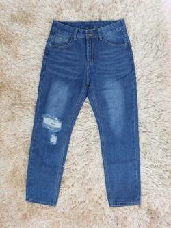 กางเกงยีนส์ผู้หญิง บอยเฟรนด์ เอวปกติ สีเข้ม