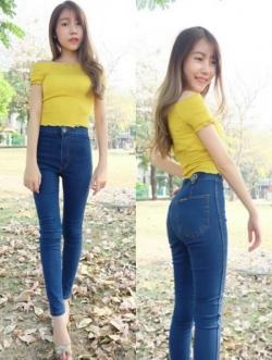 กางเกงยีนส์ผู้หญิง ขาเดฟ เอวสูง สีเข้ม
