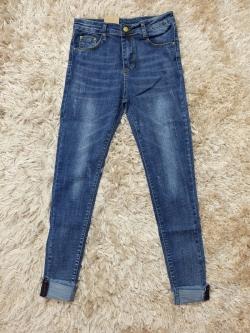 กางเกงยีนส์ผู้หญิง ขาเดฟ ผ้ายืด เอวปกติ สีน้ำเงิน