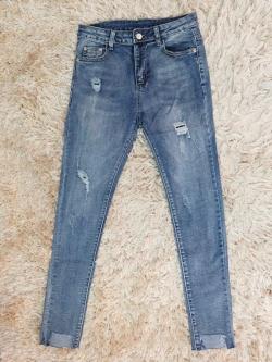 กางเกงยีนส์ผู้หญิง ขาเดฟ ผ้ายืด สีฟอก