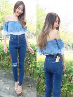 กางเกงยีนส์ผู้หญิง ขาเดฟ ผ้ายืด เอวสูง สีน้ำเงิน