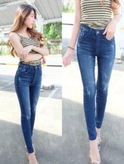 กางเกงยีนส์ผู้หญิง ขาเดฟ เอวสูง สีฟอก