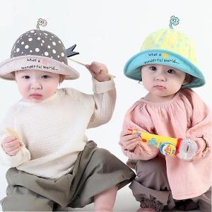 หมวกเด็ก ปีกรอบ พรีเมี่ยม จุกดอกไม้ (Hat - DO)