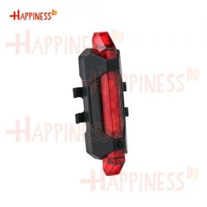 HappinessDD ไฟท้าย ไฟกระพริบ จักรยาน LED ชาร์จ USB แบบสายยางรัด - สีแดง