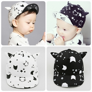 หมวกเด็ก แก็ป ลายแมวดาว มีหู