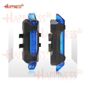 HappinessDD ไฟท้าย ไฟกระพริบ จักรยาน LED ชาร์จ USB แบบสายยางรัด - สีฟ้า