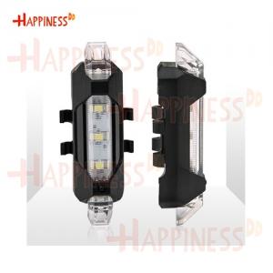 HappinessDD ไฟท้าย ไฟกระพริบ จักรยาน LED ชาร์จ USB แบบสายยางรัด - สีขาว