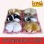 หมานอนหลับบนเบาะแดง สีเทาหูดำ 17x13 CM [มีเสียง] thumbnail 3