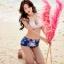 ชุดว่ายน้ำทูพีช บราสีม่วงอ่อน พร้อมส่ง ไซส์ (M L) thumbnail 5