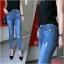 กางเกงยีนส์ผู้หญิง ขาเดฟ ผ้ายืด เอวปกติ สีฟอก