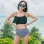 ชุดว่ายน้ำทูพีช บราสีดำ พร้อมส่ง Black ไซส์ (S M) thumbnail 1