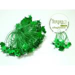ควั่นเชือก + ใบเลื่อมสตอเบอรี่ 100ใบ/ห่อ (ควั่นสีเขียว)