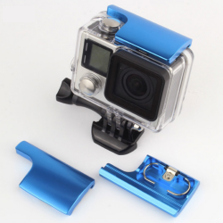 UPPER LOCK BUCKLE HOUSING (ALUMINIUM) FOR GOPRO HERO 4 / 3+ สีฟ้า