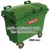 ถังขยะเทศบาล ขนาด 660 ลิตร ล้อเข็น ฝาเรียบ(มีหูยก)