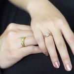 แหวนคู่แต่งงาน ทองแท้ 18K ประดับเพชรสวิส cz เกรดพรีเมียม