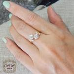 แหวนเพชรประกบดีไซน์ดอกไม้ (ดอกไม้คู่)