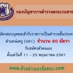 กองบัญชาการตำรวจตระเวนชายแดน เปิดรับสมัครสอบบุคคลเข้ารับราชการ เป็นตำรวจชั้นประทวน ตำแหน่งครู (ปท1) จำนวน 80 อัตรา ตั้งแต่วันที่ 11 - 25 พฤษภาคม 2561