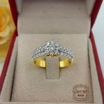 แหวนดอกพิกุล (ก้านแหวนเพชรเรียง3แถว)