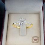 แหวนดีไซน์เพชรประกบ เรียงสวยระยิบ (Hat 1SM)