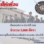 เปิดสอบตำรวจ ประจำปี 2560 จำนวน 5,000 อัตรา เพื่อบรรจุเป็นนักเรียนนายสิบตำรวจ (นสต.) ประจำปี 2560
