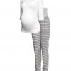 กางเกงคนท้อง H&M jersey pant สีเทาลายขวาง ไซส์สะโพก 36-44 นิ้ว