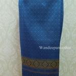 ผ้าถุงไหมสำเร็จรูป สีน้ำทะเล เอว38 นิ้วเลื่อนได้ถึง40 นิ้ว