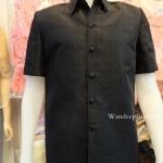 เสื้อผ้าไหมญี่ปุ่นซาฟารี สีดำ ซับผ้ากาวทั้งตัวมีซับใน มีเสริมไหล่ กระเป๋า 3 ใบ เบอร์ M