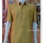 เสื้อผ้าไหมญี่ปุ่นชาย สีเหลืองไพร ซับผ้ากาวทั้งตัว กระเป๋า 3 ใบ เบอร์ xxxl อกเสื้อวัดเต็ม 50 นิ้ว
