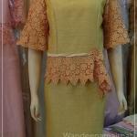ชุดผ้าไหมญี่ปุ่นแต่งด้วยลูกไม้นอก เสื้อ+กระโปรงยาว สีไพร เบอร 42