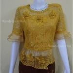 เสื้อลูกไม้เนื้อนุ่ม ใส่สบาย แขน3ส่วน สีเหลืองทอง แต่งผ้าแก้ว อกเสื้อวัดเต็ม 39 นิ้ว