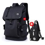 กระเป๋าเป้แฟชั่น ตามติดอินเทรนด์ด้วยช่องเสียบสาย USB ในดีไซน์สวยๆ - ดำ + ใบเล็ก
