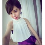 เสื้อแฟชั่นเกาหลีในแบบคอกลมแขนกุด สุดเซ็กซี่ ดูหรูหราแต่แฝงไปด้วยเสน่ห์น่าค้นหา - ขาว