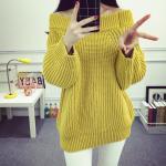 เสื้อคุลม เสื้อกันหนาวแฟชั่น ทรงเปิดไหล่ หนานุ่ม ดูดี - เหลือง