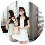 เสื้อคลุมแฟชั่น บางเบาแบบผ้าชีฟอง สีดำและสีขาว ใส่คู่กับตัวไหนก็สวย - ดำ