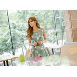 เดรสแฟชั่นเกาหลีทรงยาว พร้อมเข็มขัดในชุด กับลายดอกไม้สวยๆ - เขียว XL