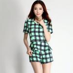 เดรสเกาหลีแบบขากางเกง สีสันสดใสมาในแบบลายสก๊อต สวยใส ไม่ตกเทรนด์ - เขียว L