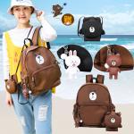 *Pre Order*กระเป๋าเป้ผ้าใบหมี Brown line ขนาด 14 นิ้ว