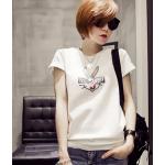 เสื้อยืดแฟชั่นสำหรับสาวๆ ผ้านิ่ม มีลายให้เลือกมากมาย และหลายขนาด - 2203ขาว