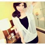 เสื้อแฟชั่นเกาหลี SET เบาสบาย ด้วยผ้าชีฟอง ต้อนรับกับช่วง summer H149 สีขาว