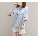 เสื้อยืดแฟชั่น สกรีนลายน่ารัก ดูสดใส ชวนมอง - ฟ้า