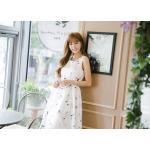 เดรสแฟชั่นเกาหลีทรงยาว พร้อมเข็มขัดในชุด กับลายดอกไม้สวยๆ - ขาว XL