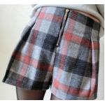 กางเกงขาสั้นลายสก๊อต ใส่สบายด้วยขอบเอวยางยืดและ มีซิบด้านหน้า - ส้ม