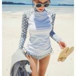 ชุดว่ายน้ำ 2 ชิ้น แบบเสื้อแขนยาว ลายDOT สวยๆ ช่วยปกป้องผิวสาวๆ จาก UV - XL