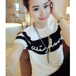 เสื้อยืดแฟชั่นสำหรับสาวๆ ผ้านิ่ม มีลายให้เลือกมากมาย และหลายขนาด - 2070ขาว