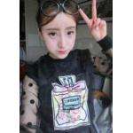 เสื้อแฟชั่นเกาหลี ทรงแขนยาว สีสันและลวดลายอินเทรนด์ เหมาะสำหรับสาวๆ หาชุดออกนอกบ้านจิงๆ - ดำ