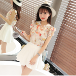 ชุดเสื้อชีฟองลายดอกไม้น่ารักๆ กับกระโปรงสีขาว - 2XL