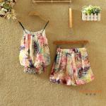 ชุดเซทผ้าชีฟอง ลวดลายดอกไม้สวยๆ - ลาย1