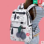 กระเป๋าเป้แฟชั่น ลายน่ารักๆ มีช่องใส่ของด้านหน้า สะดวก เหมาะกับทุกการใช้งานจริงๆ - ลาย 985 ขาว